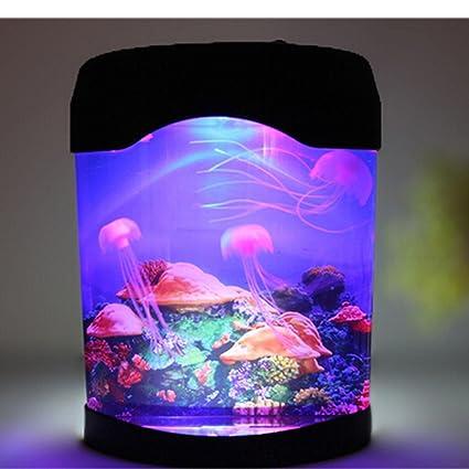 Multi color cambiante luz llevó artificial medusas acuario iluminación pecera noche lámpara de luz