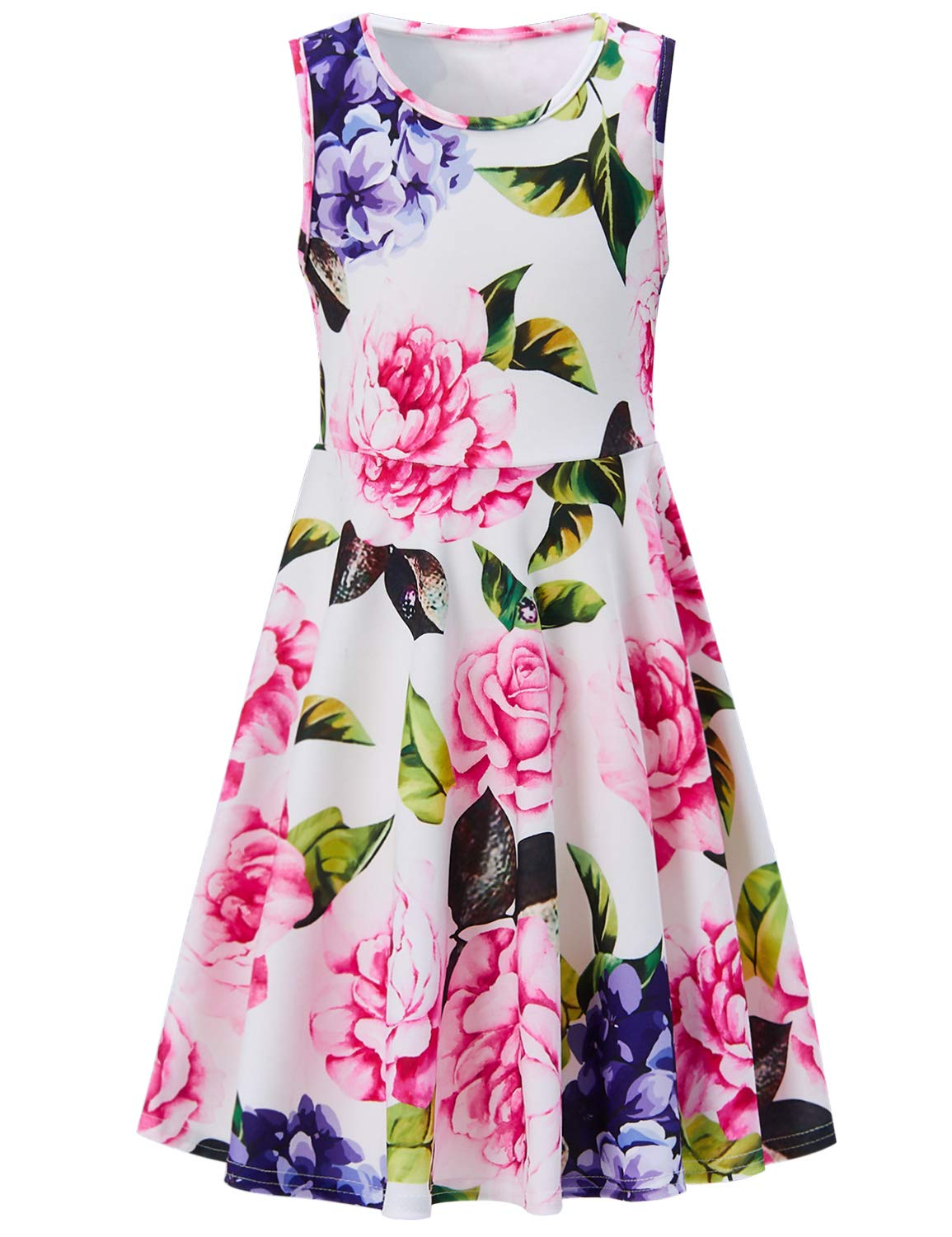 RAISEVERN Little Girls Vintage Sweet Pink Flower Dress Summer Sleeveless Floral Printing Casual/Party Bridesmaids(4-13Years)
