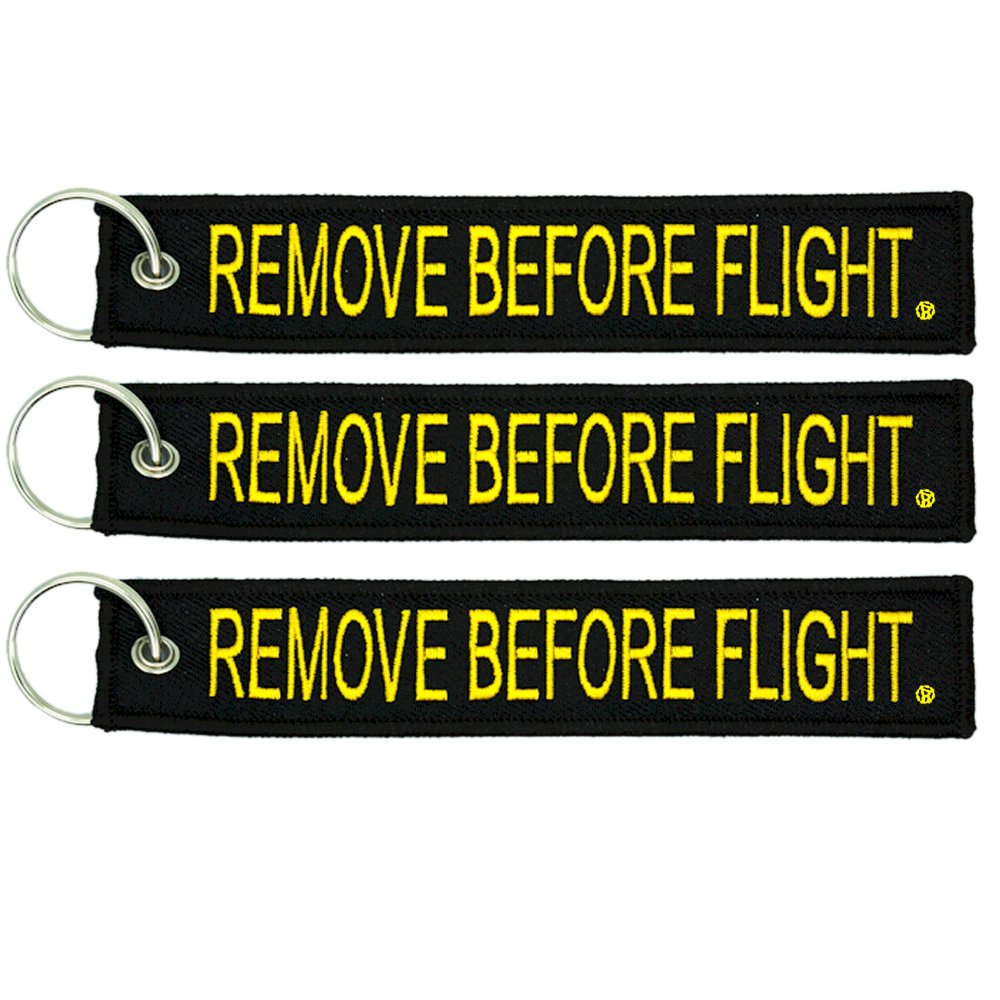 Apex Imports 3X Remove Before Flight Black//Yellow Key Chain 5.5 x 1 Motorcycle ATV Car Truck Keychain AP-0251-N