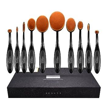 Amazon.com: LiSmile Professional Makeup Brushes, 10 Piece Oval ...