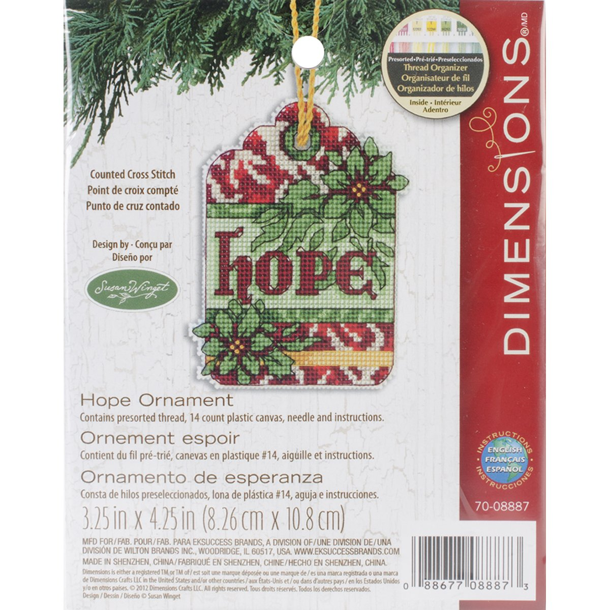 Dimensions Counted Cross Stitch Ornament, Gingerbread House 70-08917