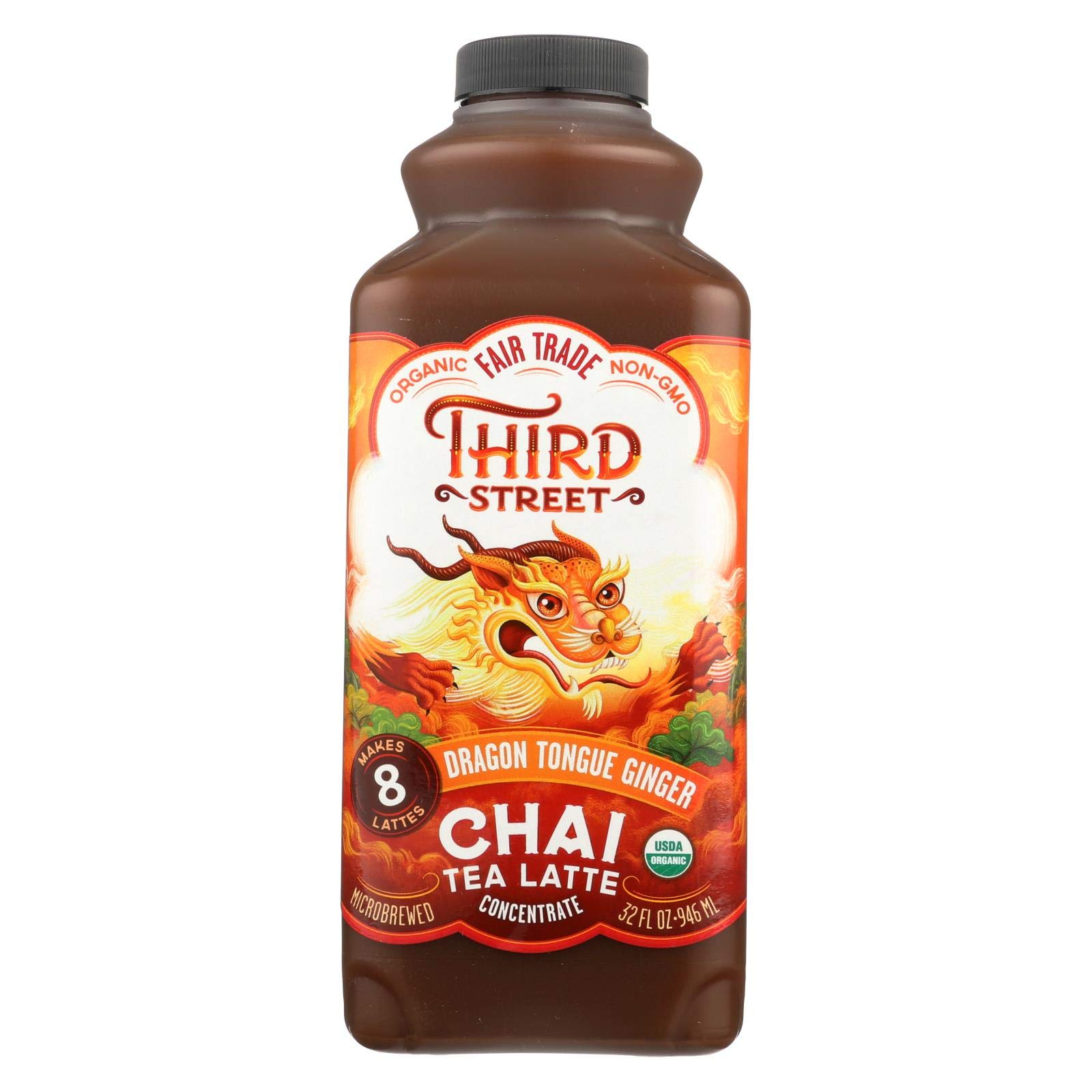 Third Street Chai, organic, Conc ,Dragon Tongue Ginger, Pack of 6, Size - 32 FZ, Quantity - 1 Case