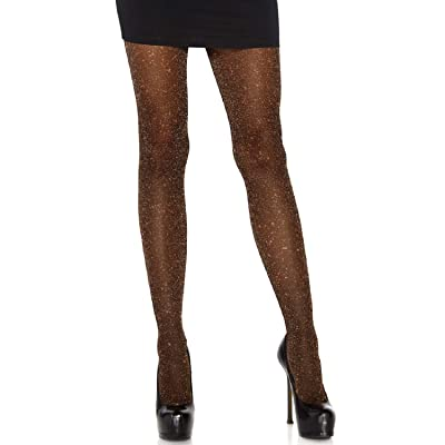 Leg Avenue Womens Lurex Shimmer Tights, O/S, Black/Copper at Women's Clothing store