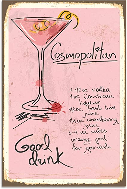 Wall Decoration Cosmopolitan Cocktail Recipe Door Plaque 30 X 45 Cm Amazon Co Uk Kitchen Home