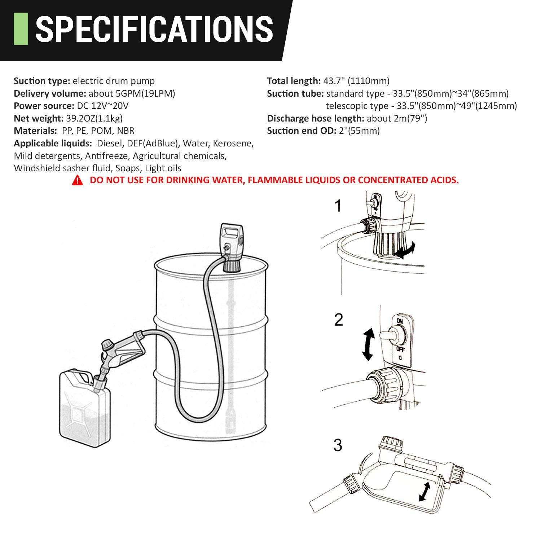 TERAPUMP TReDRUM 33.5-49'' IBC Totes Telescopic Plug-in Electric Drum Barrel Pump for DEF,Diesel, Kerosene,Antifreeze, Agricultural Chemicals by TERA PUMP (Image #7)