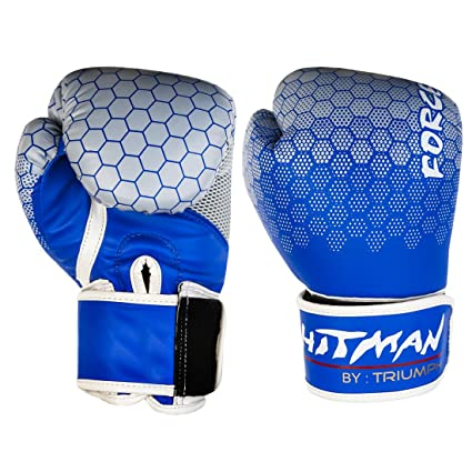 Buy Hitman Gb04863 12 Pu Triumph Force Print Boxing Gloves 12 Oz Blue Online At Low Prices In India Amazon In