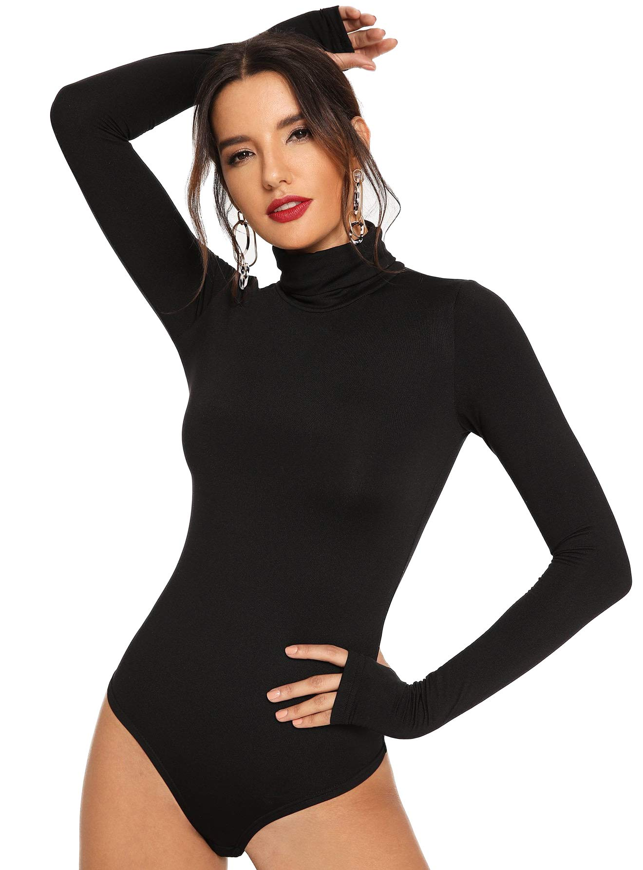 Floerns Womens Long Sleeve Turtleneck Basic Jumpsuits Bodysuit Leotard Black 1 Xl