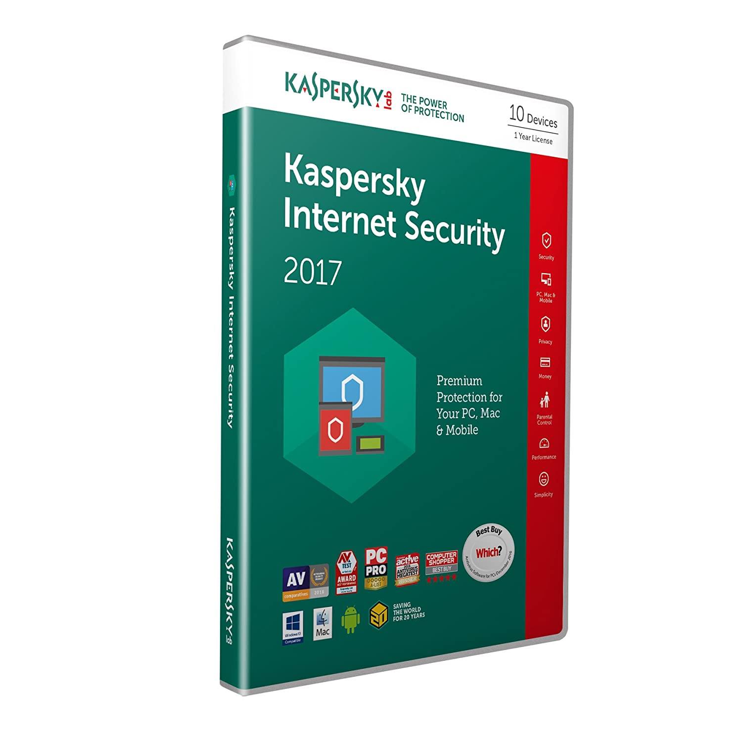 Kaspersky Internet Security 2017 10 Devices 1 Year PC Mac Android