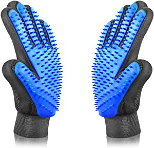 PETINCCN Pet Grooming Glove Gentle Deshedding Brush Bathing Massage Gloves Efficient Pets Hair Remover Mitt Perfect for Dogs & Cats & Horses with Long & Short Fur Enhanced Five Finger Design 1 Pair