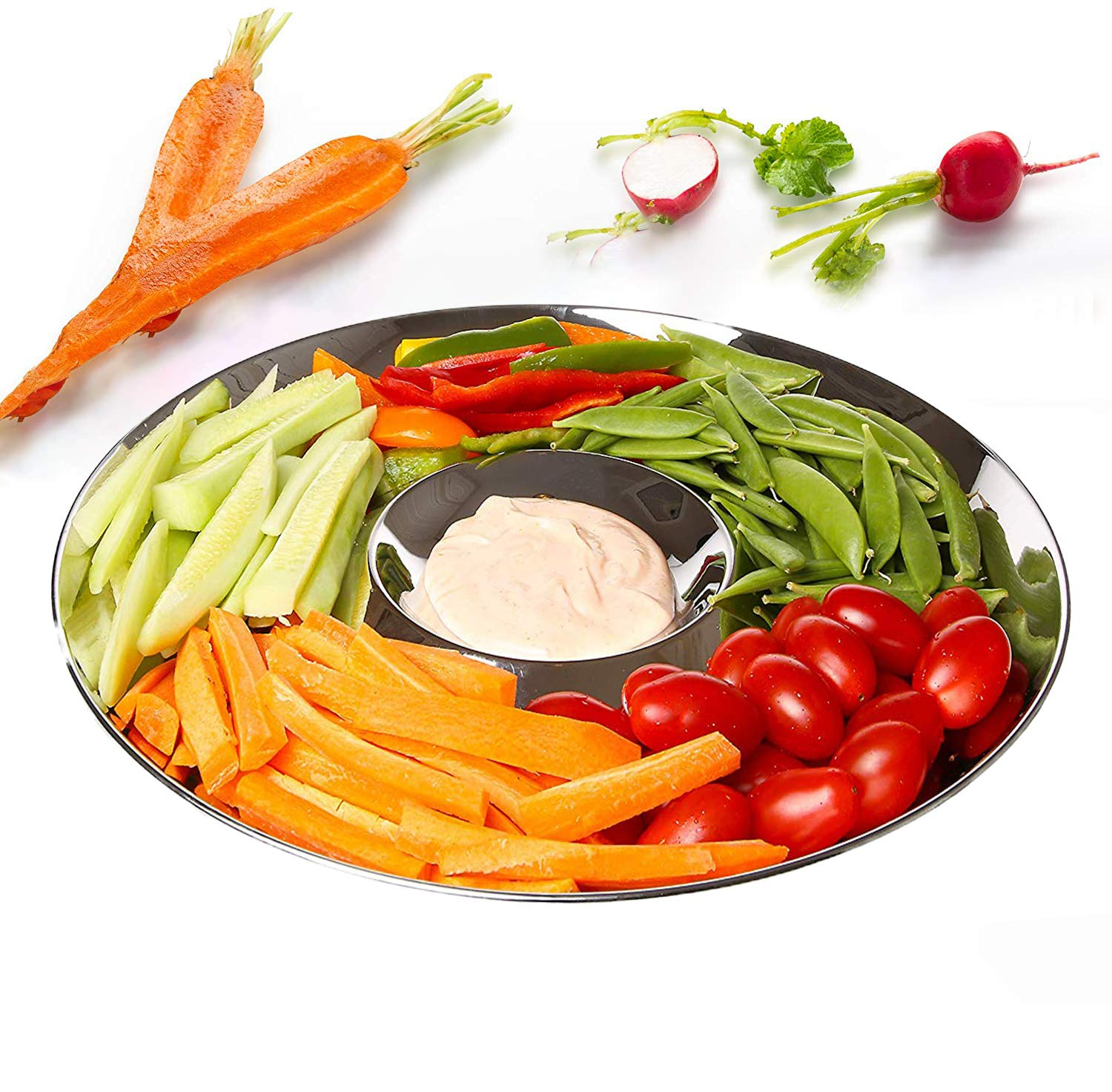Chip and Dip Serving Bowl, Elegant Serving Dish - Great for Chips, Dips, Appetizer, Fruit Bowl, Salad and Snack - Stainless Steel Chips and Dip Plate