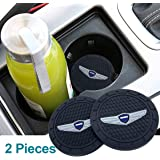Auto Sport 2.75 Inch Diameter Oval Tough Car Logo Vehicle Travel Auto Cup Holder Insert Coaster Can 2 Pcs Pack Fit Genesis Ac