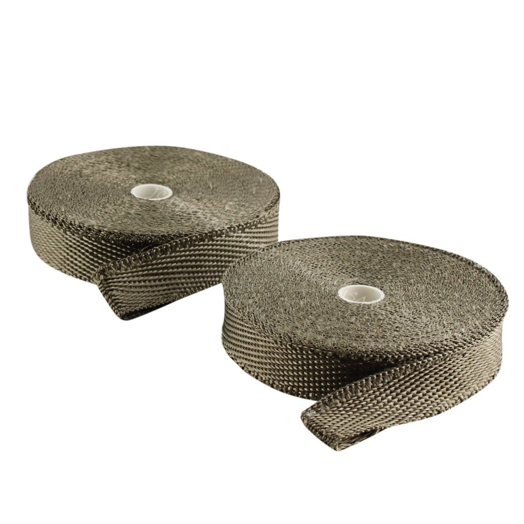 JC Performance Glossy Lava Rock Titanium High Heat Fiberglass Double Rolls - 25% Thinner Than Our Standard Wrap! - Exhaust Header & Pipe Wrap Thermo Basalt (1'' Wide 100 Feet (2 x 50' Rolls))