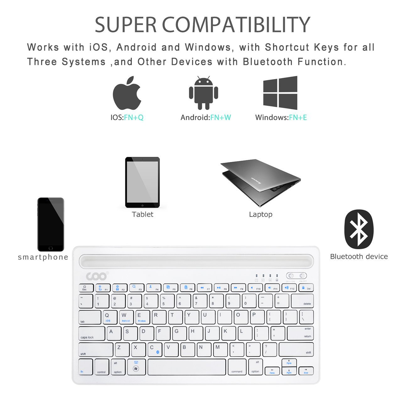 Bluetooth keyboard, Dual Channel Multi-device Universal Wireless Bluetooth Rechargeable Keyboard with Sturdy Stand for Tablet Smartphone PC Windows Android iOS Mac(Silver) by COO (Image #5)