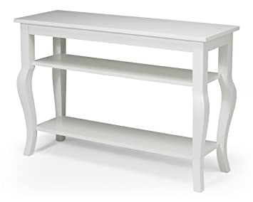 Kate And Laurel Lillian Wood Console Table With Display Shelves   Cabriole  Legs   Easy