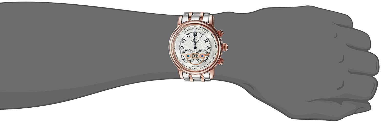 GV2 by Gevril Montreux Mens Chronograph Swiss Quartz Tachymeter Round Case Two Tone Stainless Steel Watch, Model 8103B