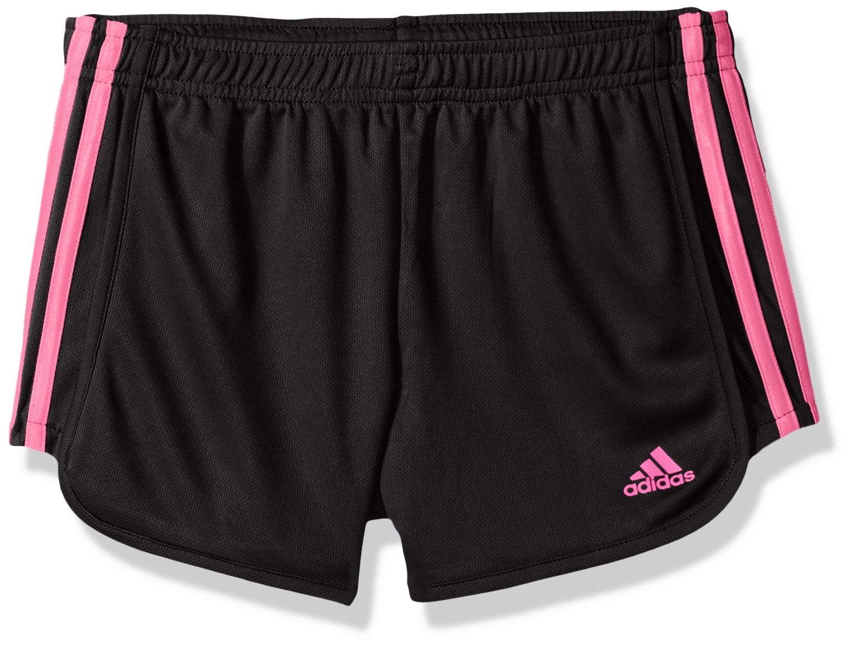 adidas Big Girls' Athletic Shorts, Black Light Pin, Large