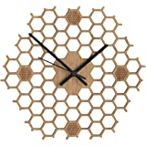 Honeycomb Inspired Wooden Wall Clock With Non Ticking Silent Sweep, Unique and Contemporary Style, Bamboo Home Decor (Hexagonal-Open)