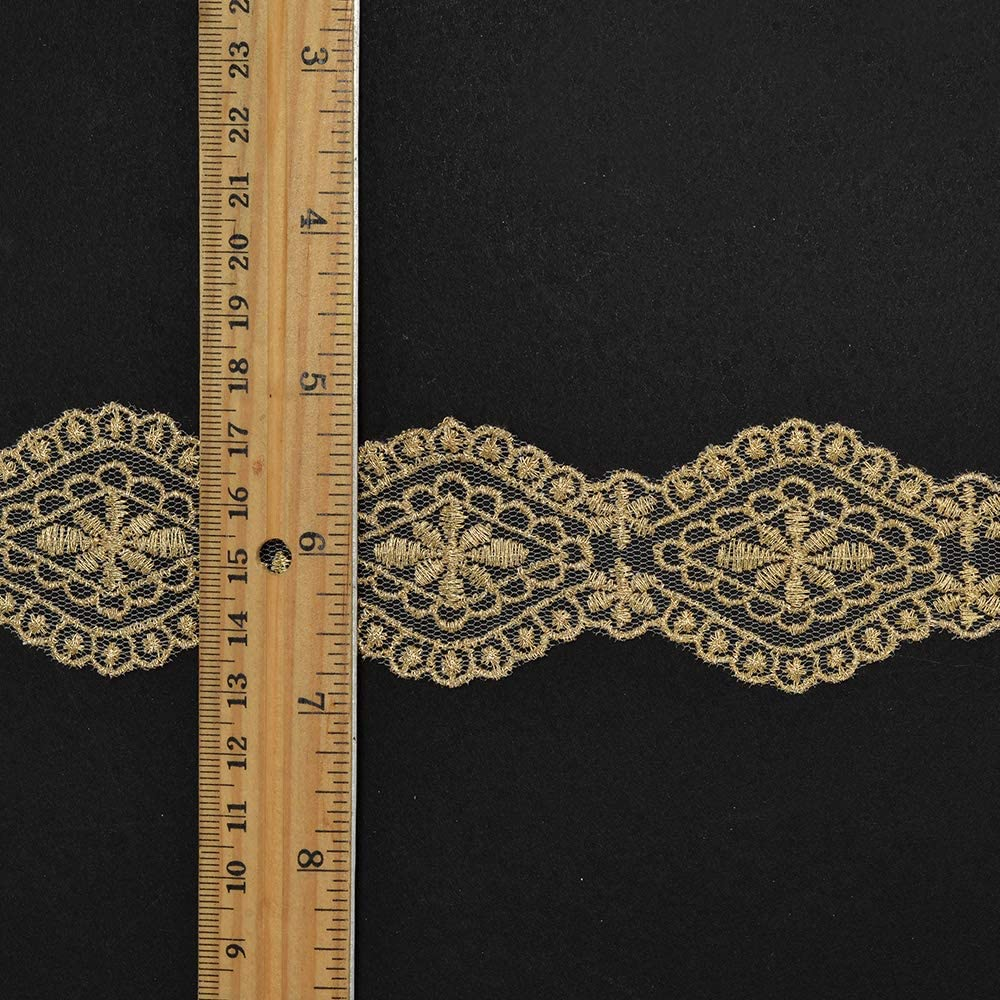 LP-ST-4442 1-3//4 Metallic Gold Thread Lace Trim by 1 Yard