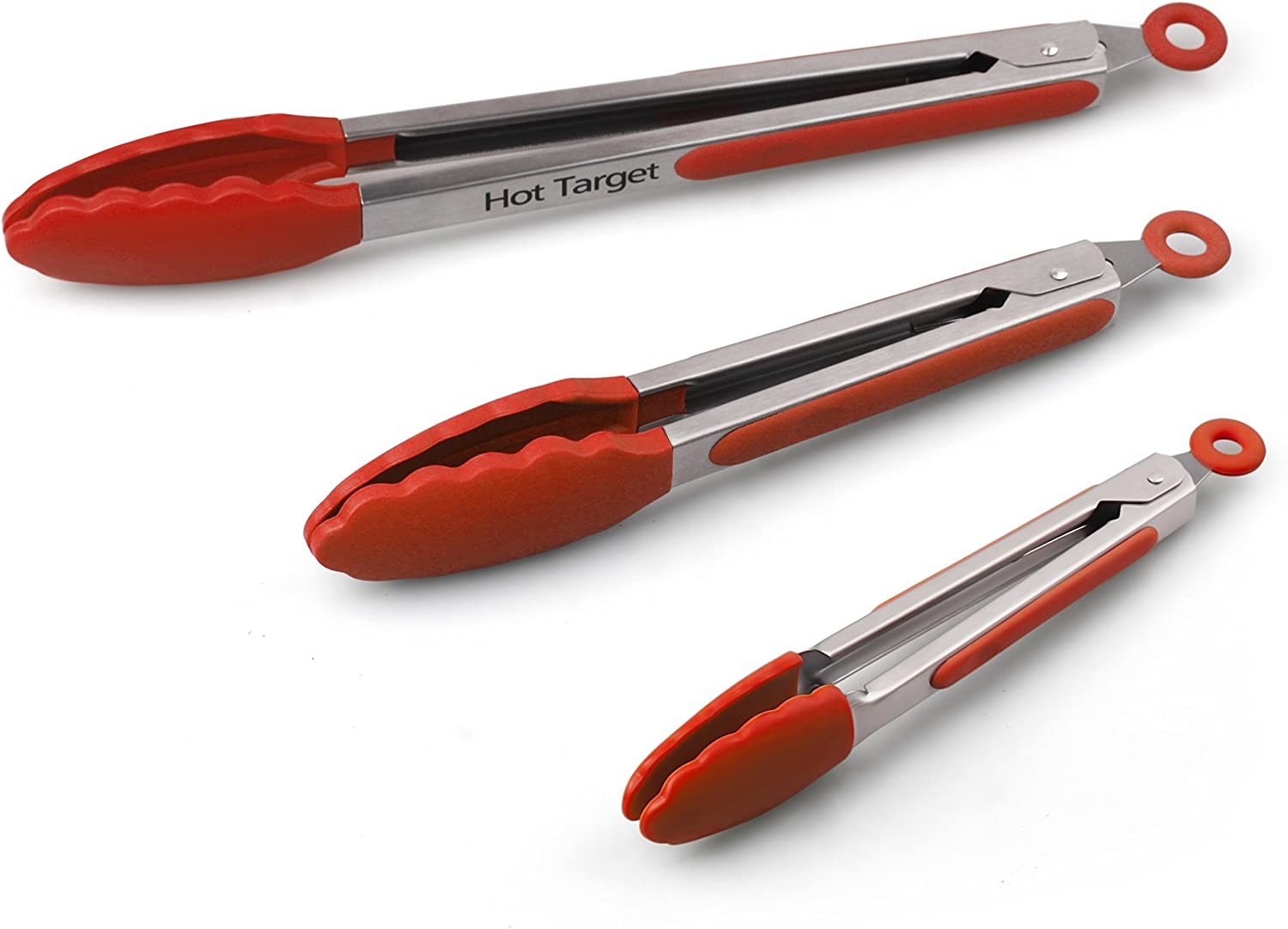 Hot Target Set of 3-7, 9, 12 inches, Red Color, Heavy Duty, Non-Stick, Stainless Steel Silicone BBQ and Kitchen Tongs. Heat resistant up to 600°F (3 COLORS AVAILABLE)
