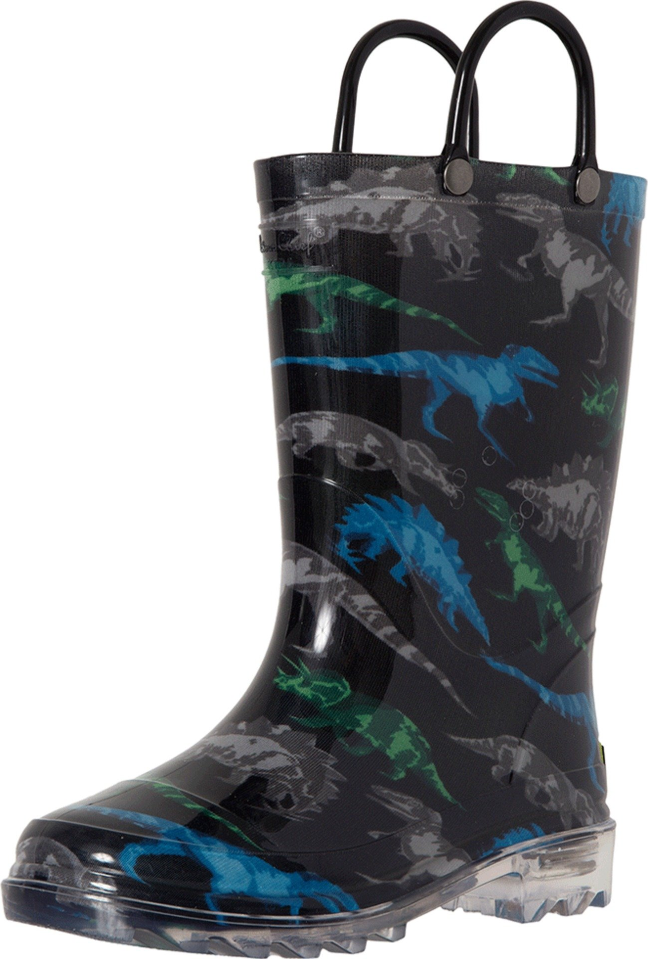 Western Chief Boys' Light-up Waterproof Rain Boot, Dinosaur Friends, 1 M US Little Kid by Western Chief (Image #1)