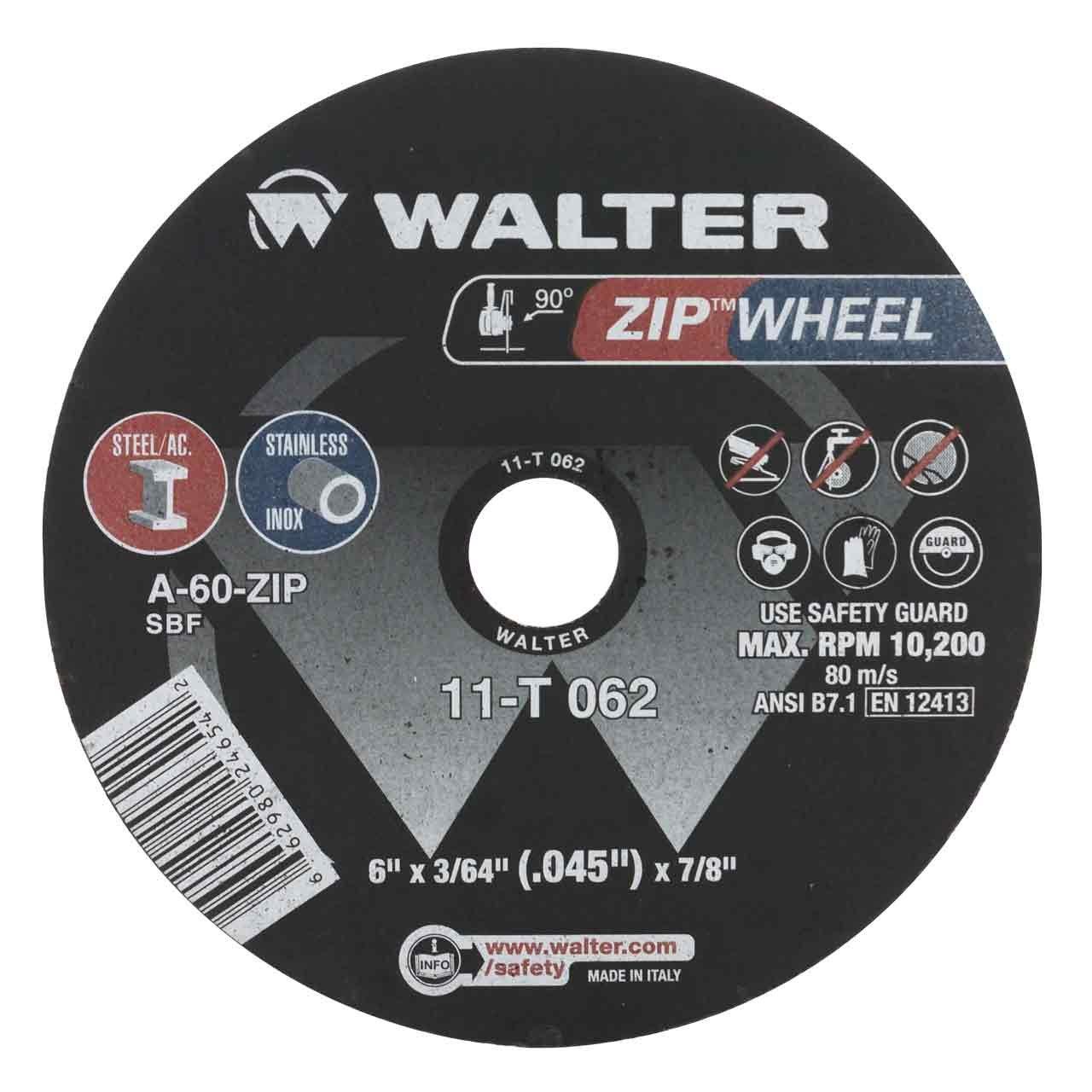 Walter 11T062 6x3/64x7/8 High Performance Zip Wheels Type 1 A60 Grit |