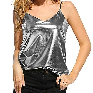 Weant Femme Camisole Été Femme Lady sans Manches V-Neck Couleur Pure Vest  Débardeur Tops 268ccacea09c