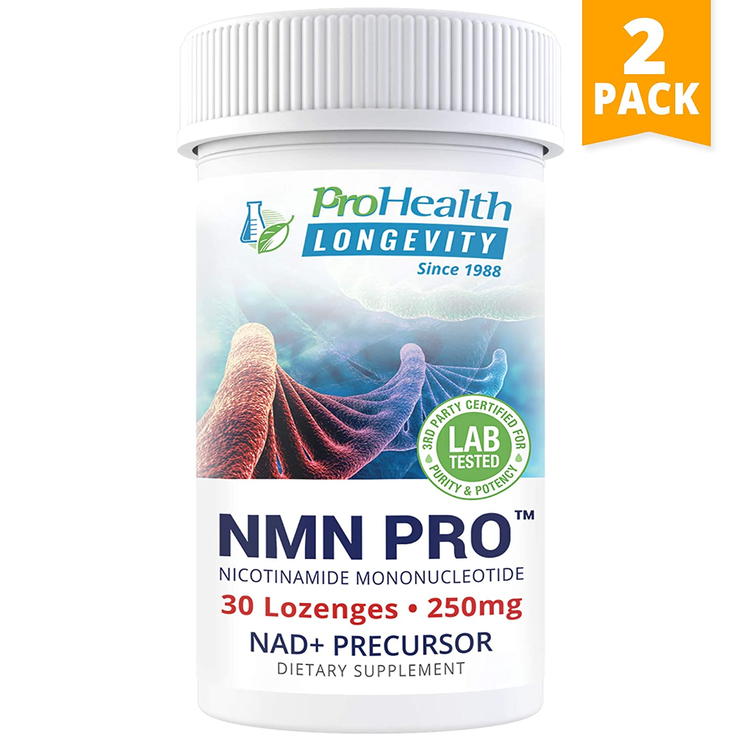 ProHealth NMN Pro 2-Pack (250 mg, 30 lozenges Each) Nicotinamide Mononucleotide | NAD+ Precursor | Supports Anti-Aging, Longevity and Energy | Non-GMO