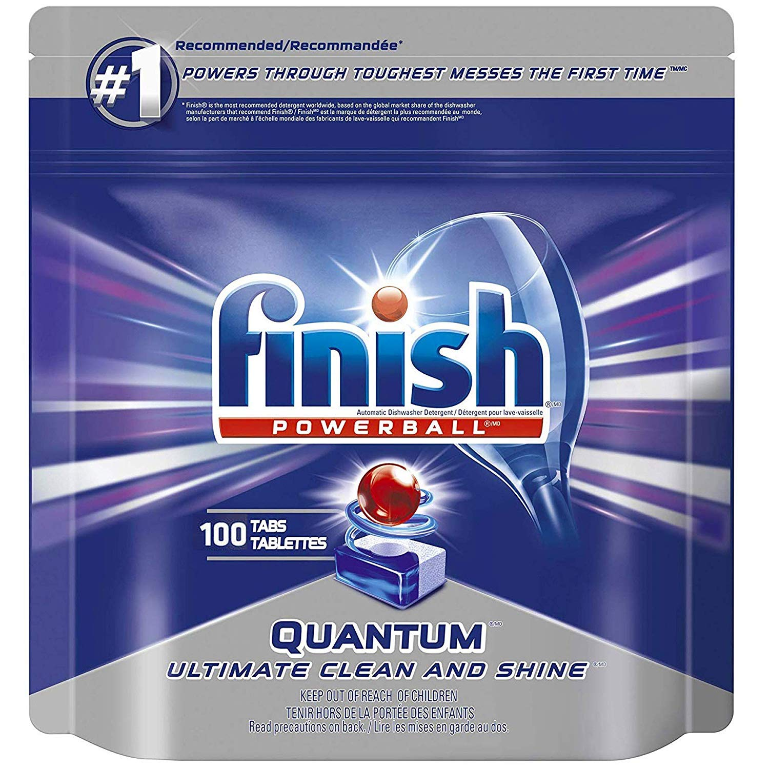 Finish Quantum Dishwasher Detergent Tabs, Ultimate Clean and Shine, 100 Count
