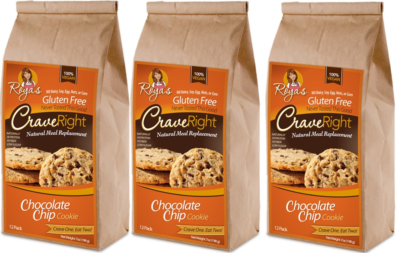 Gluten-free, 100% Vegan - 7 Oz, Containing 12 Individual Cookies (Chocolate Chip) (Pack of 3)