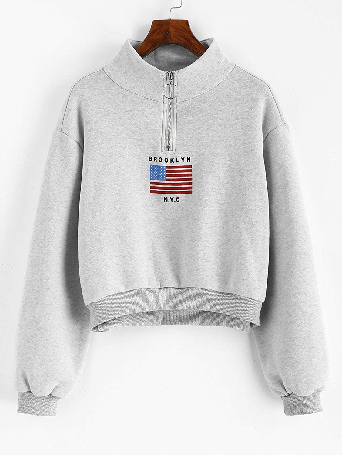 29ba3aea ZAFUL Women's American Flag Mock Neck Zipper Cropped Sweatshirt Half Zip  Casual Activewear at Amazon Women's Clothing store: