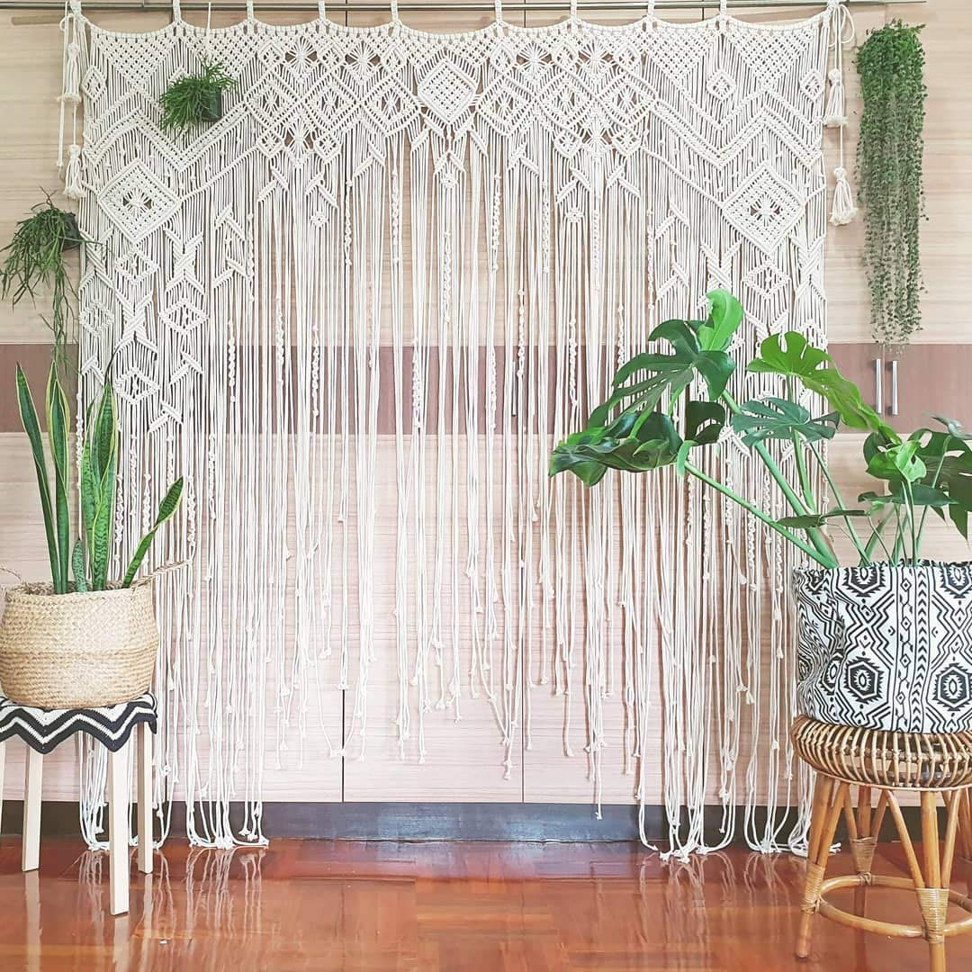 Macrame Wall Decor Hanging - Bohemian Home Geometric Art Decor - Beautiful Apartment Dorm Room Decoration-Macrame Curtain-Macrame Wedding Backdrop for Christmas & Holiday Decorations W 75'' x L 85''