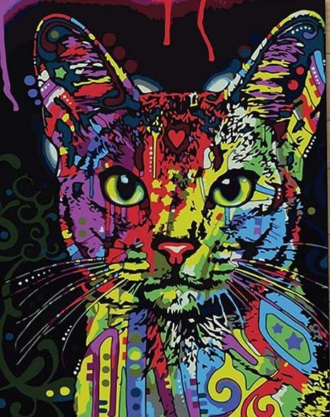 DIY Pintura Al Óleo Pintura Por Número Kit - Avatar de gato animal ...