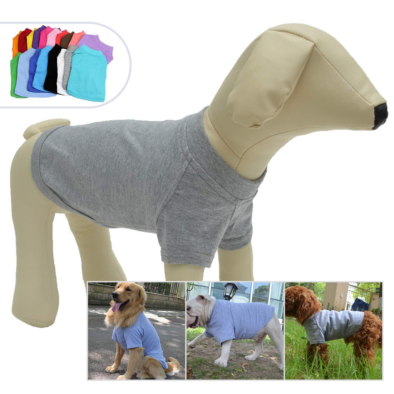 Lovelonglong 2019 Pet Clothing Dog Costumes Basic Blank T-Shirt Tee Shirts for Medium Dogs Gray XXL
