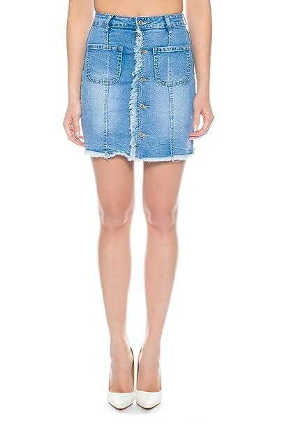 Nina Carter Falda Vaquera para Mujer Minifalda Jeans de Mezclilla Casual Elastica  Talla 34 a 40  Amazon.es  Ropa y accesorios 88e110cd5c34