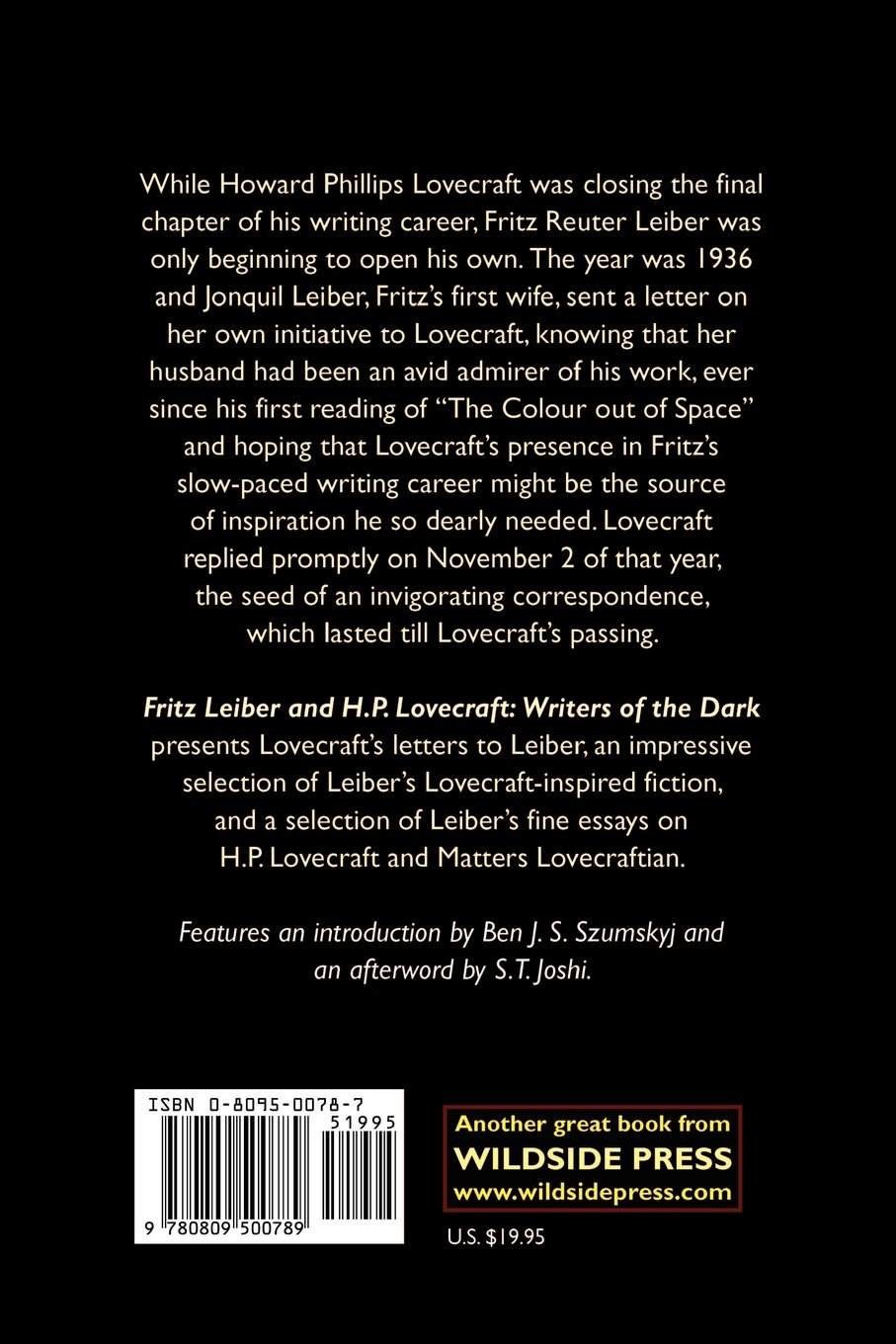 fritz leiber and h p lovecraft writers of the dark fritz leiber fritz leiber and h p lovecraft writers of the dark fritz leiber 9780809500789 com books