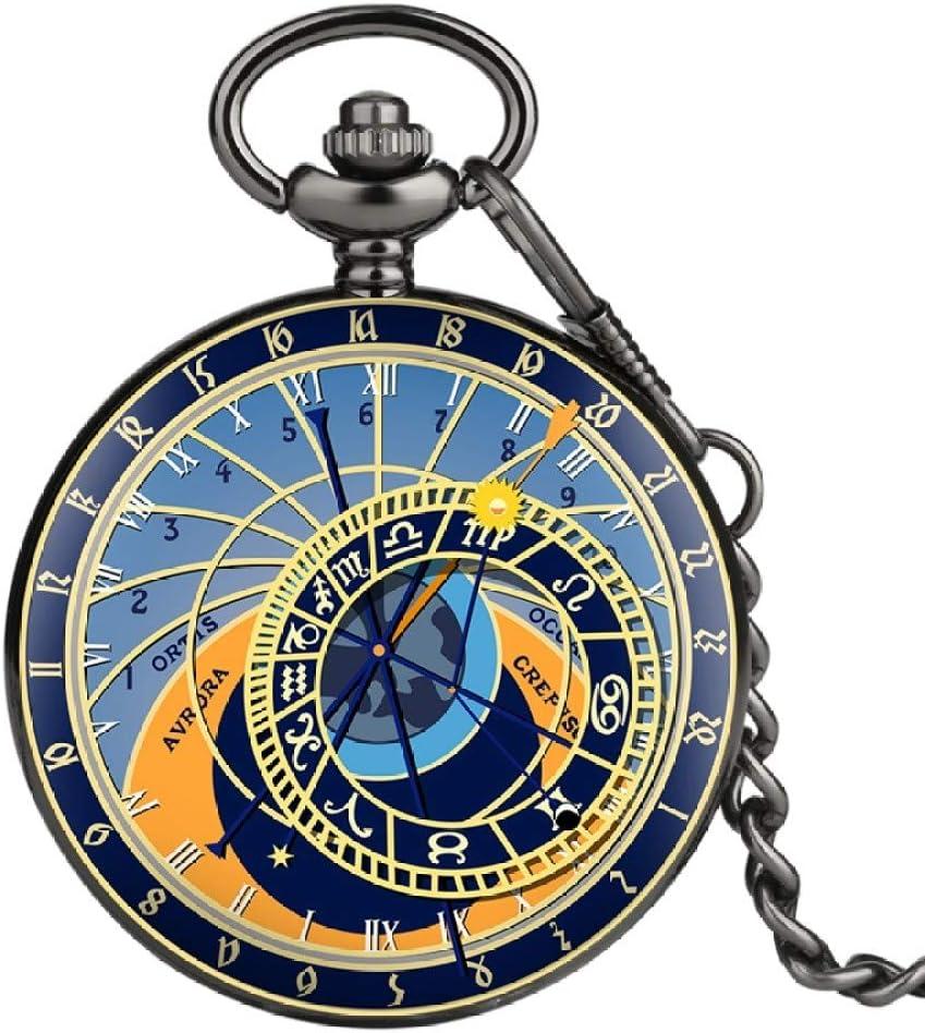 ZHAOXIANGXIANG Reloj De Bolsillo,Reloj Astronómico De Praga, Reloj De Bolsillo con Cadena Creativa, Reloj Analógico De Cuarzo, 12 Constelaciones, Recuerdo Artístico para Hombres Y Mujeres