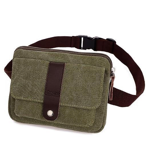 bcfb46f0a3bc Daosen Small Canvas Multiple Pocket Adjustable Fanny Pack Travel Waist Bag  Hip Purse Belt Bag Bum