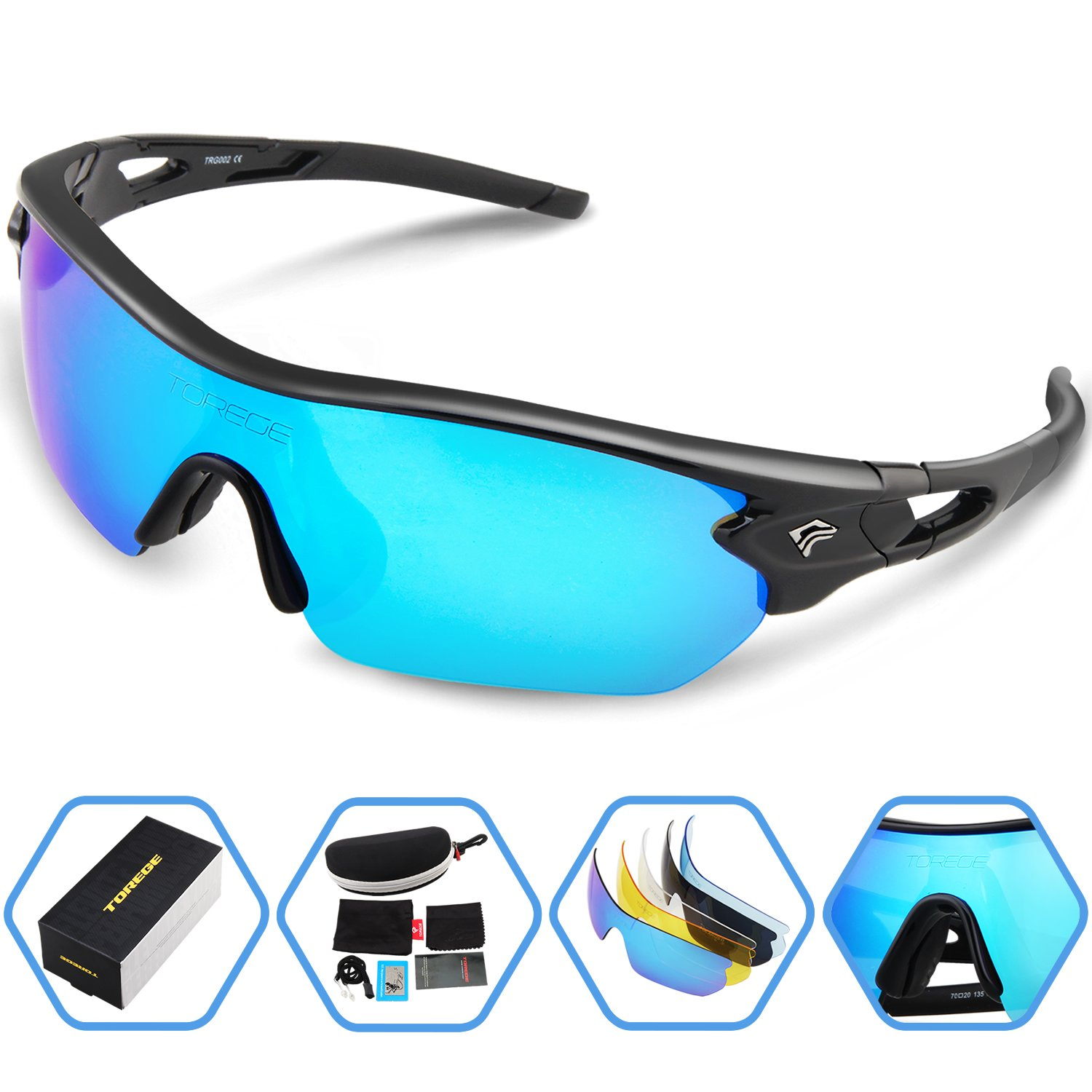 49c0f6e229 TOREGE Polarized Sports Sunglasses with 5 Interchangeable Lenes for Men  Women Cycling Running Driving Fishing Golf
