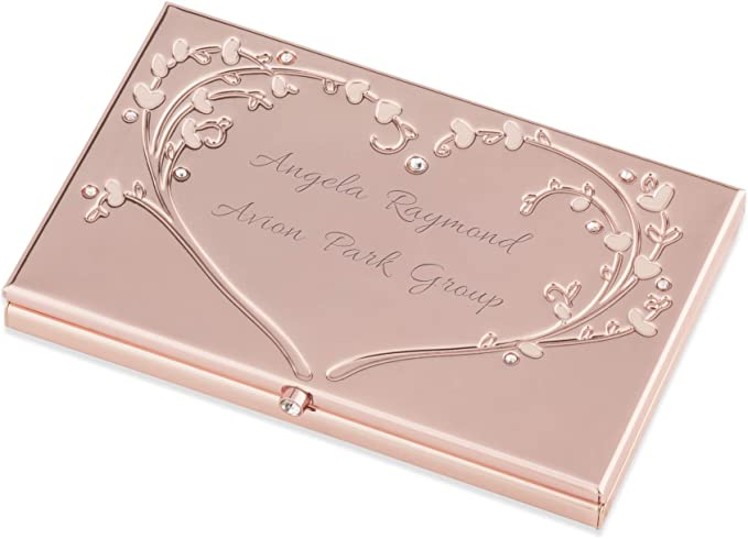 Rose gold leather card case  Personalized rose gold envelope card case  Rose gold leather business card case  Genuine leather