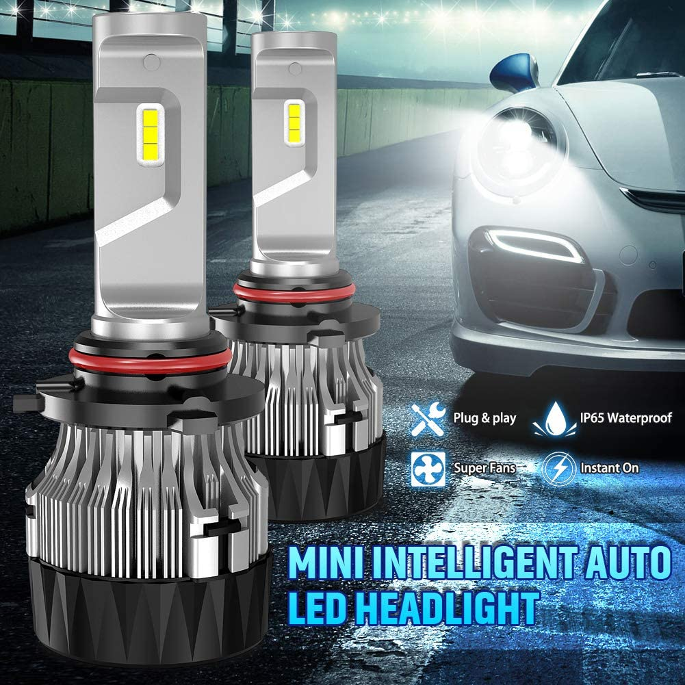 KATUR 9012 HIR2 Led Headlight Bulbs Extremely Bright 10000LM CREE Chips Mini Design All-in-One Headlight Conversion Kit 60W 6500K Xenon White-2 Years Waranty