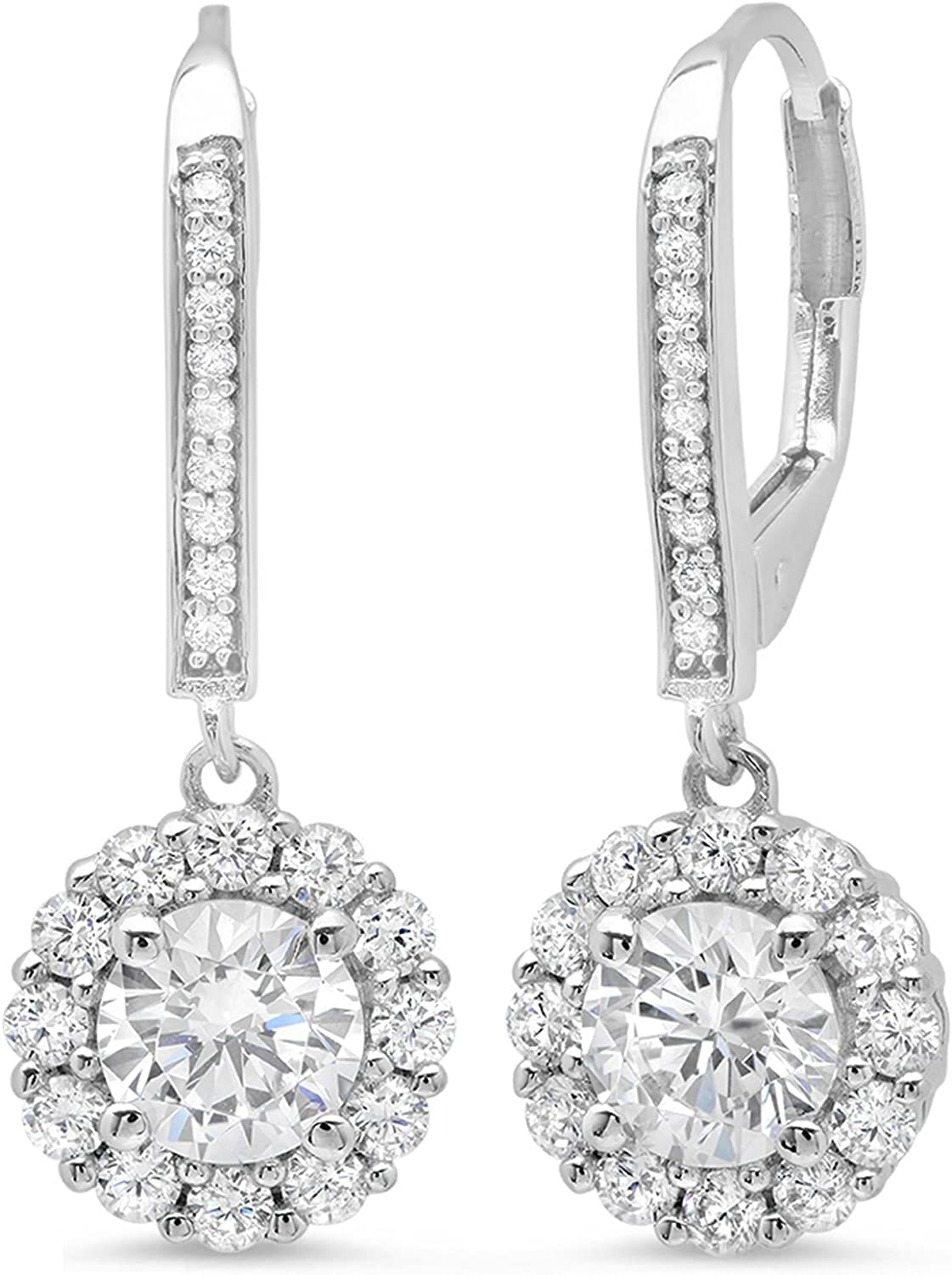 3.55 ct Brilliant Round Cut Halo Solitaire Highest Quality Moissanite & Simulated Diamond Anniversary gift Leverback Drop Dangle Earrings Real Solid 14k White Gold