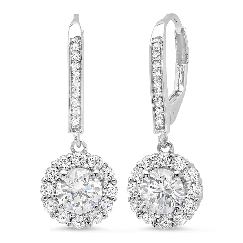 fc64d5a7d Amazon.com: 3.60 CT ROUND CUT CZ Solitaire Halo PAVE DROP DANGLE LEVERBACK  EARRINGS 14K White GOLD: Jewelry
