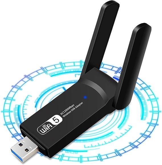 1200Mbps Adaptador WiFi USB, Receptor WiFi Dongle Inalámbrico con Doble Banda AC1200, Soporte de 5Ghz 867Mbps 2.4Ghz 300Mbps, USB 3.0 para ...