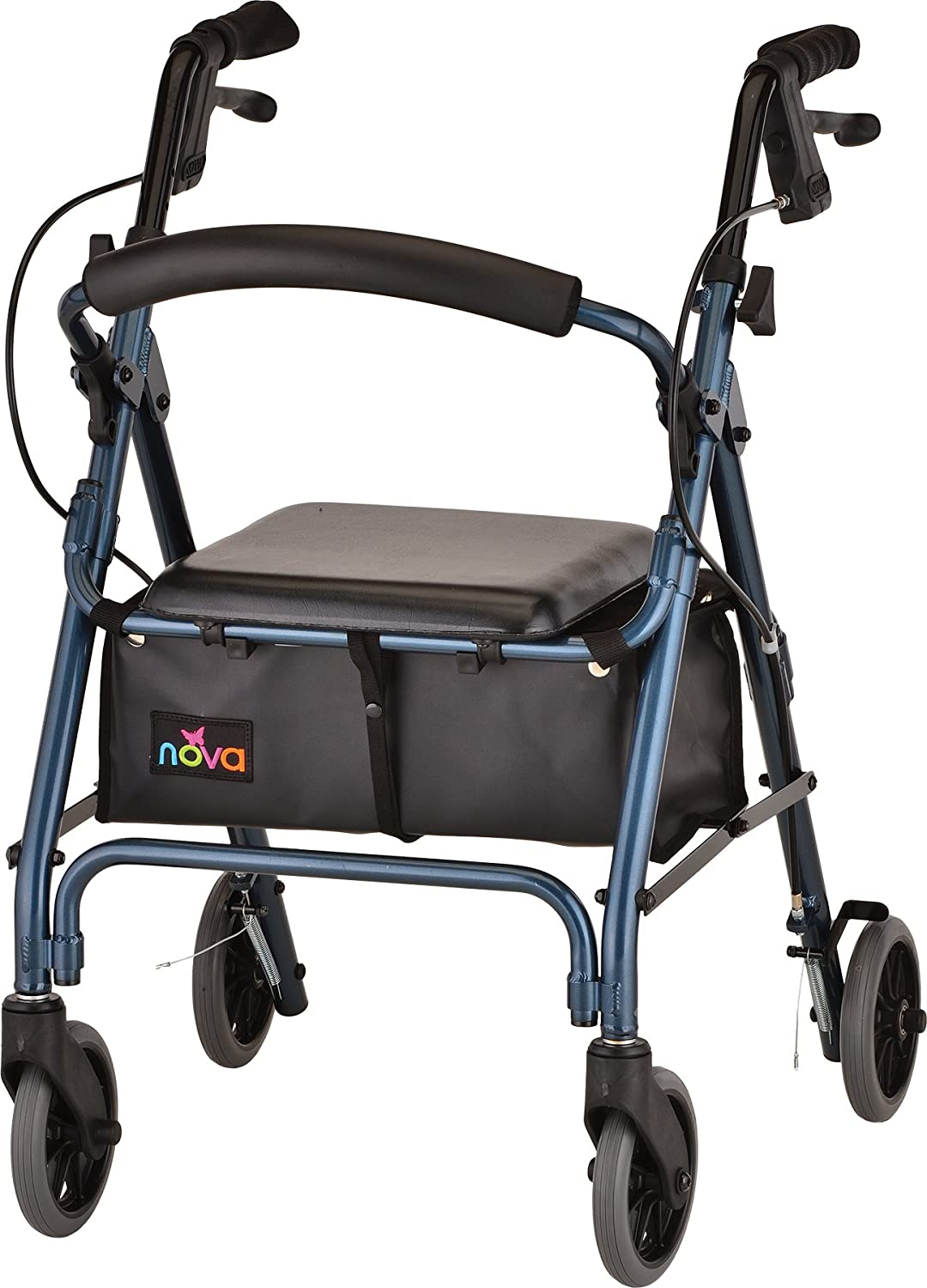 """NOVA GetGo Petite Rollator Walker (Petite & Narrow Size), Rolling Walker for Height 4'10"""" - 5""""4"""", Seat Height is 18.5"""", Ultra Lightweight - Only 13 lbs with More Narrow Frame, Color Blue"""