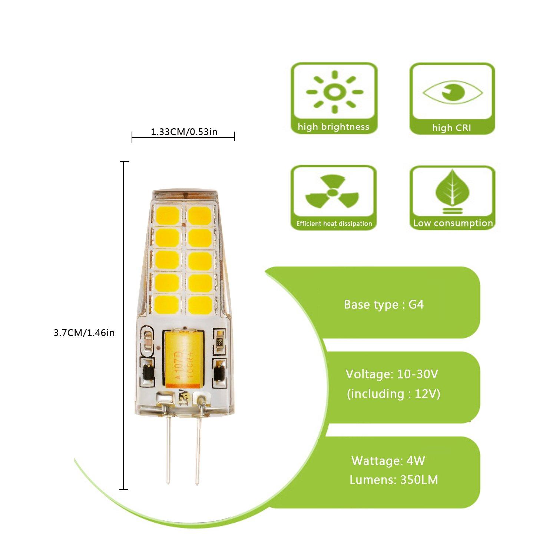 BOGAO G4 20 2835 SMD bombilla LED 350LM 4 Watt AC /DC 12V Equivalente a una bombilla incandescente de 30W Bombillas haloacute,geneas de repuesto, ...