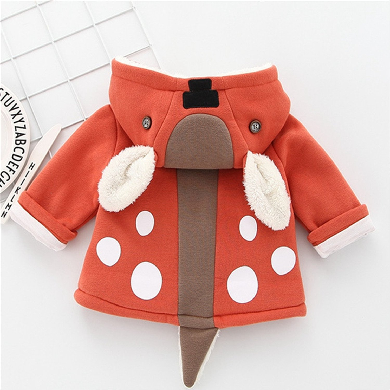 Baqijian Winter Boys Girls Casual Warm Coat Kids Outfits Fleece Sweatshirt Kids Hooded Coats Animal Style Outerwears
