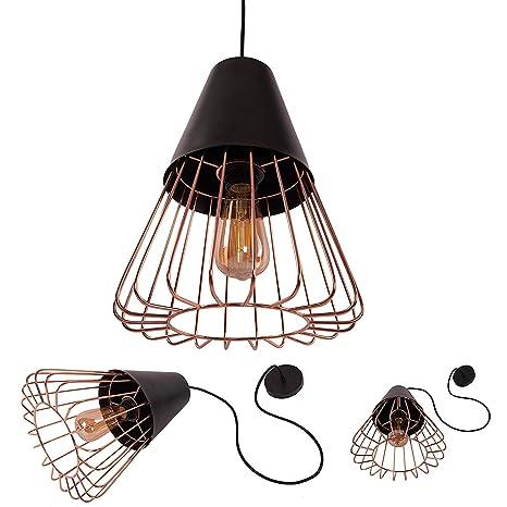 Lámpara de techo retro de metal con colgante de jaula E27 de ...