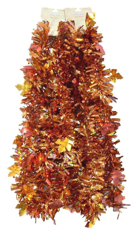 9' Autumn Fall Leaf Tinsel Garland - 2 pc 18 Total Feet (Copper)
