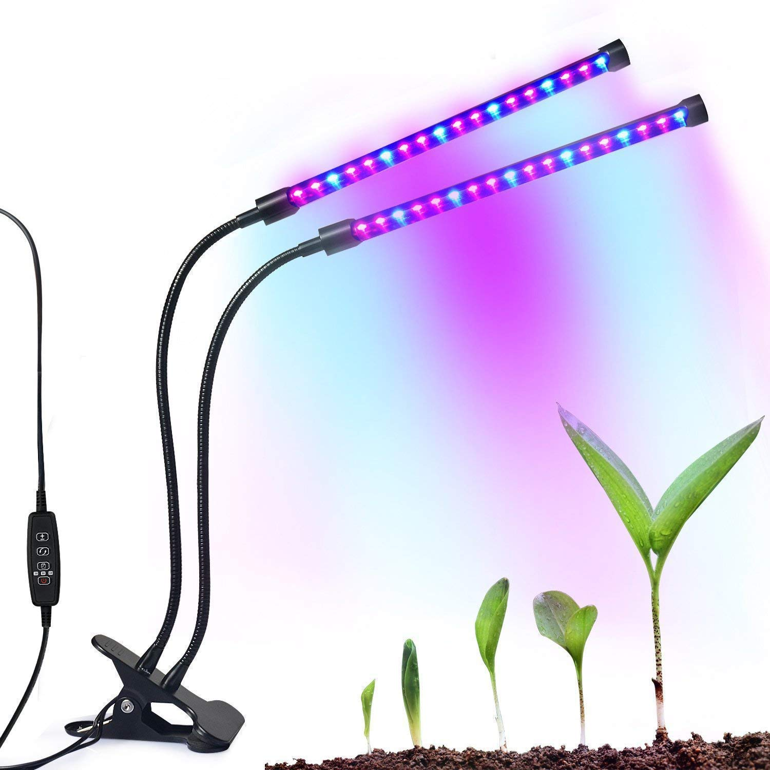 LED Plant Light 18W, iBazal Grow Light Dual Head Lamp Plant Grow Lights 36LEDs with 24 Red/12 Blue Spectrum, 3/9/12H Timer,5 Dimmable Levels for Indoor Plants Small Growing Tent Home Hydroponic Garden Greenhouse PlantLight