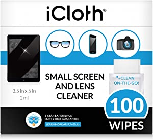 iCloth Lens and Screen Cleaner Pro-Grade Individually Wrapped Wet Wipes, 1 Wipe Cleans an Phone Screen, Camera, Laptop, Tablet, Smartphone, Lenses Box of 100